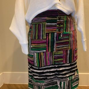 Anthropologie Odille multi color stripe skirt